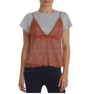 NWT Free People 2-in-1 Lace Camisole with Tee Sm